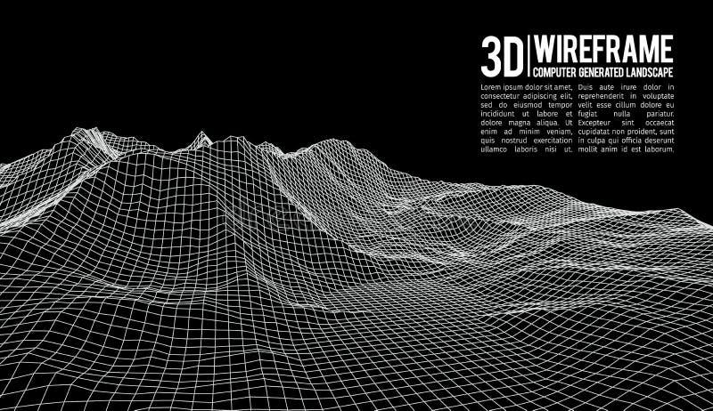 抽象传染媒介wireframe风景背景 网际空间栅格 3d技术wireframe传染媒介例证 数字式 向量例证