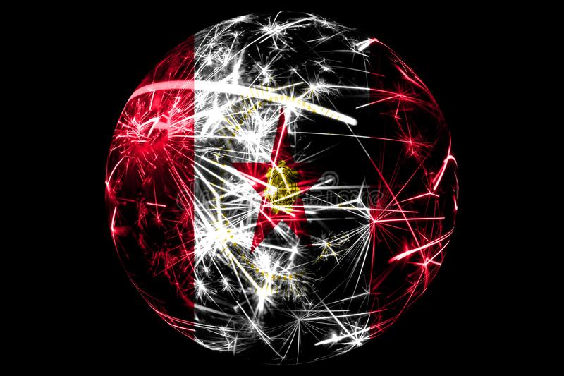 抽象伯明翰,阿拉巴马闪耀的旗子 在黑背景隔绝的美国圣诞节球假日概念 库存例证