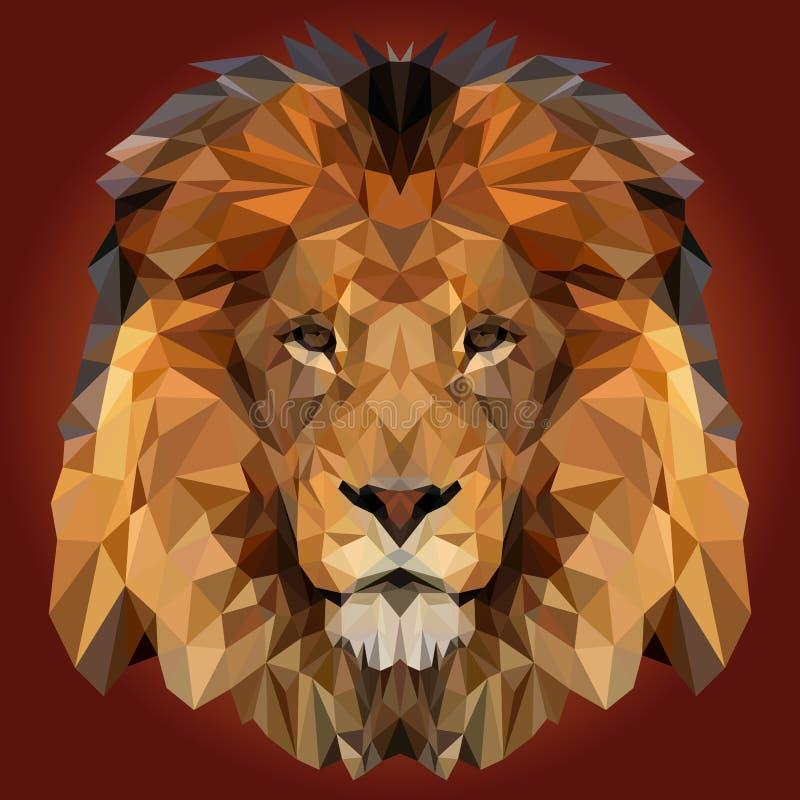 抽象低多狮子设计 免版税库存照片