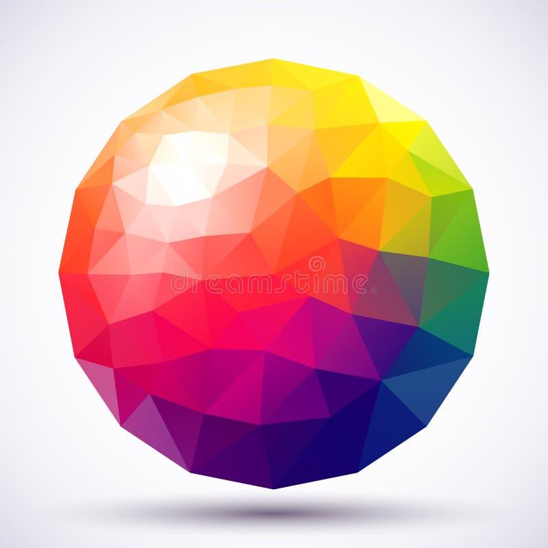 抽象低多球形 皇族释放例证