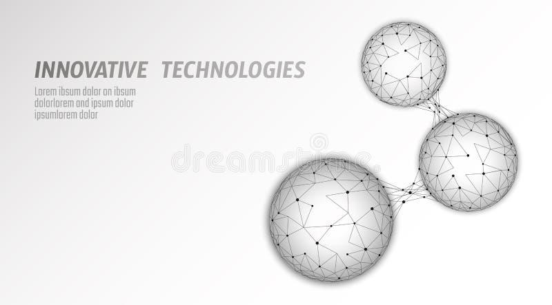 抽象低多生物被连接的细胞 连接世界多角形的通讯技术 蓝色企业科学 向量例证