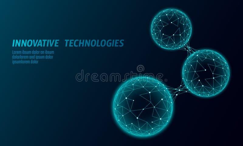 抽象低多生物被连接的细胞 连接世界多角形的通讯技术 蓝色企业科学 图库摄影
