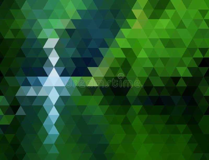 抽象低多绿色明亮的技术传染媒介背景 连接结构 传染媒介数据科学背景 库存例证
