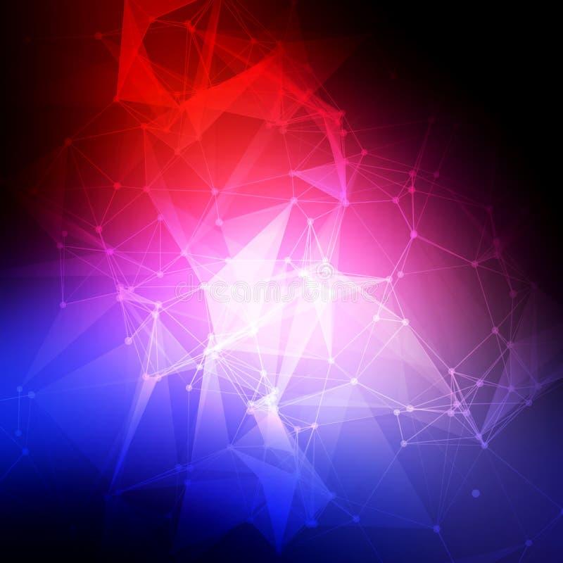 抽象低多,分子和通信 皇族释放例证