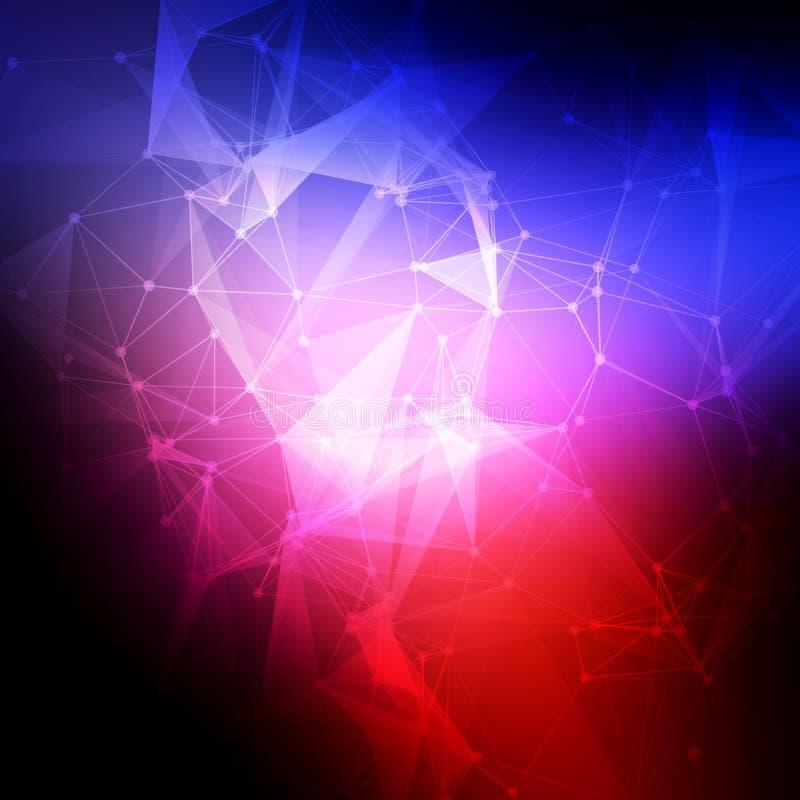 抽象低多,分子和通信 库存例证