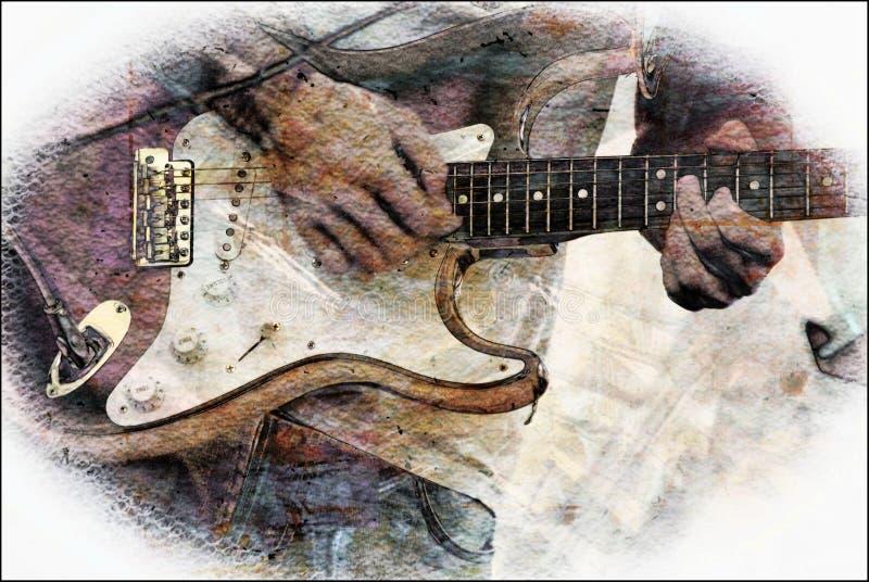 抽象低音吉它 库存例证