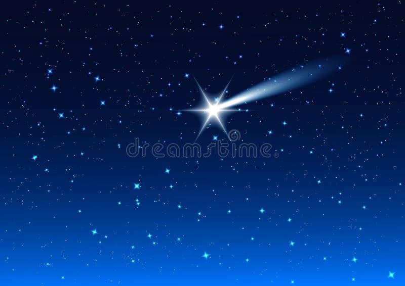 抽象例证闪电夜空 在夜空的星下落做愿望 向量例证