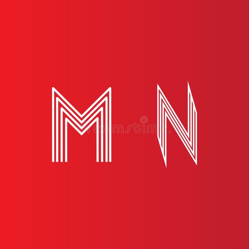 抽象信件M N商标设计 线创造性的标志 传染媒介商标设计 库存例证