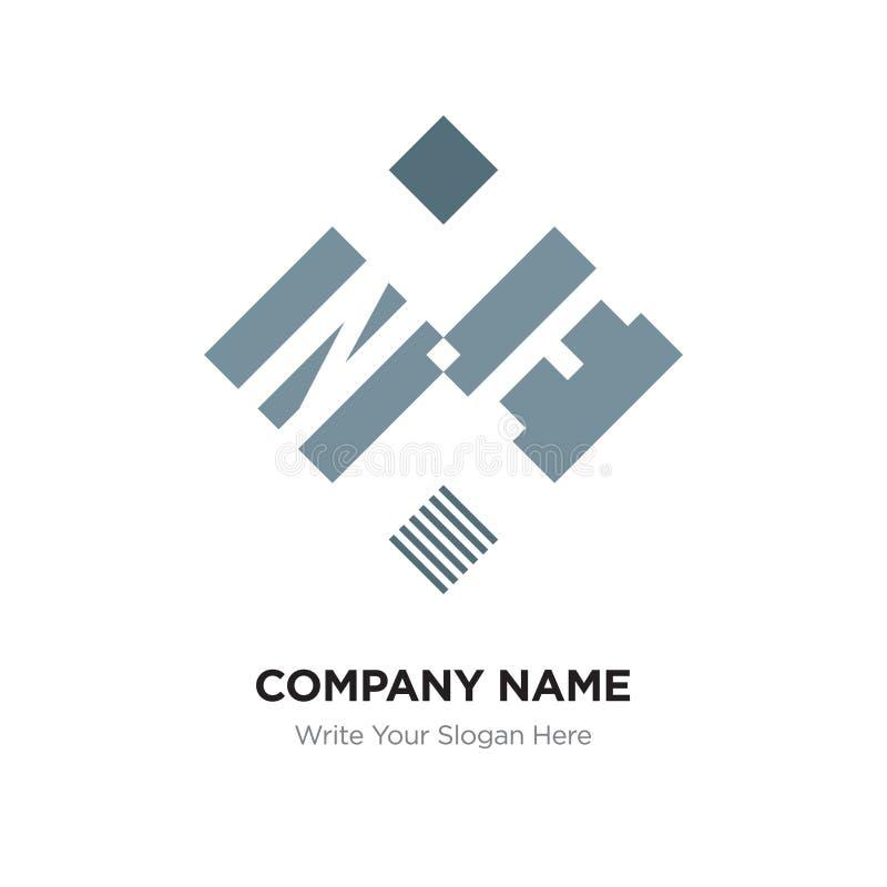 抽象信件NE或EN商标设计模板,黑字母表 皇族释放例证
