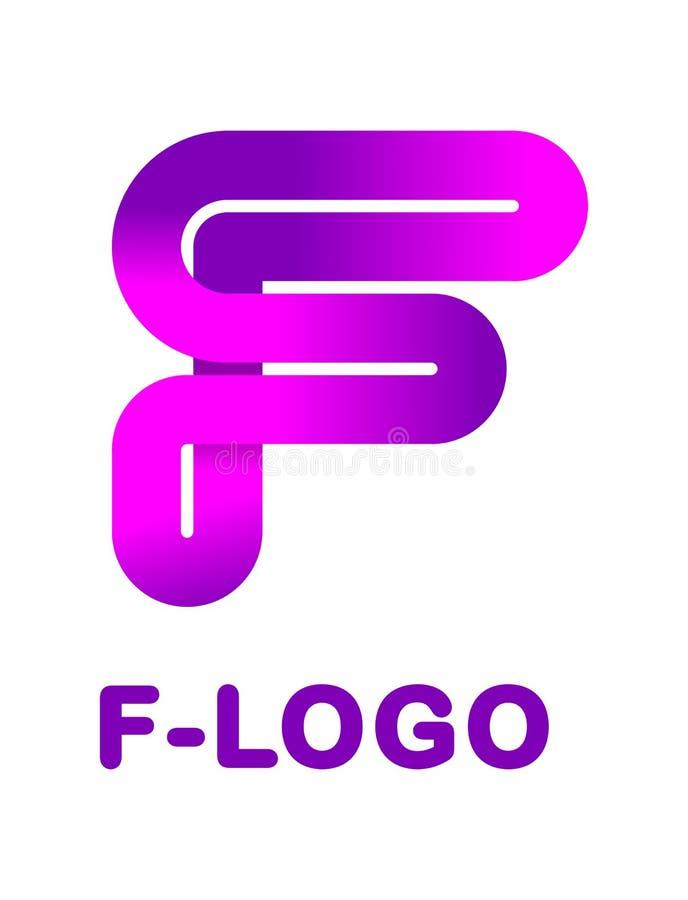 抽象信件F -创造性的商标模板传染媒介例证 丝带,闭合的线梯度颜色,弯曲的道路商标  皇族释放例证