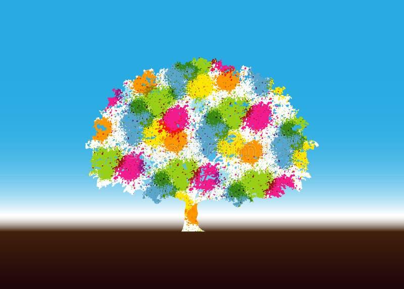 抽象充满活力的树商标设计 这是树商标,这是好为象征增长,人的关心,生态,环境 皇族释放例证