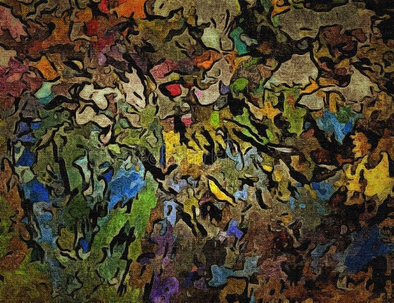 抽象光栅装饰难看的东西背景,与混乱污迹和油漆模糊的下落在织地不很细帆布的 皇族释放例证