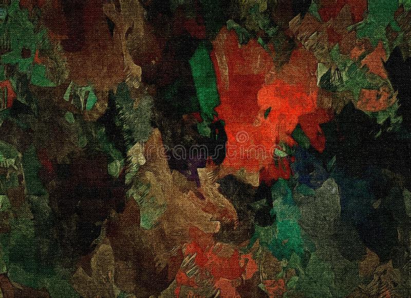 抽象光栅装饰难看的东西背景,与混乱污迹和油漆模糊的下落在织地不很细帆布的 向量例证