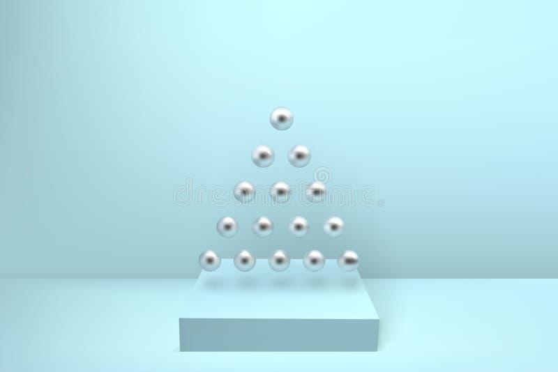 抽象光滑的圣诞树由银色金属球形ge做成 向量例证