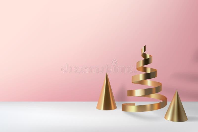 抽象光滑的圣诞树 金黄卷金属锥体, spir 皇族释放例证