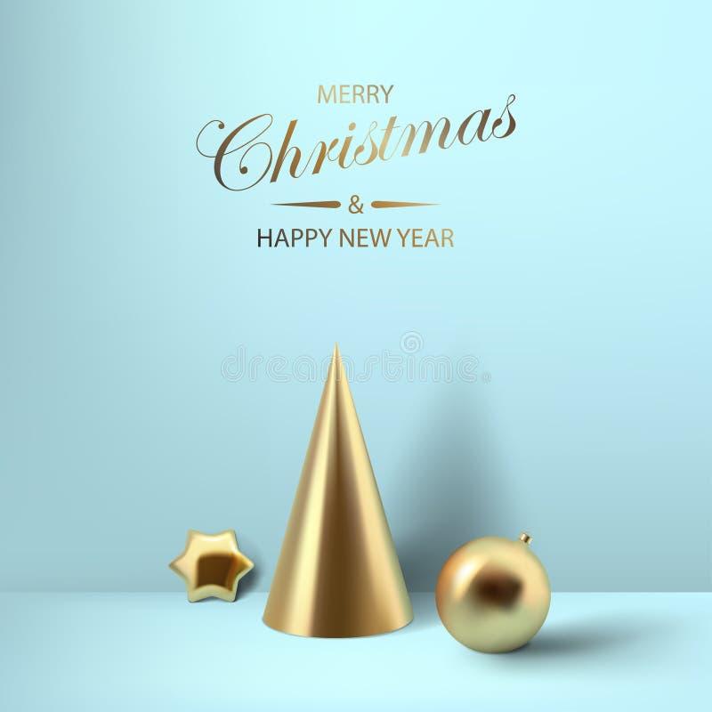 抽象光滑的圣诞节decprations 金黄卷金属星 向量例证