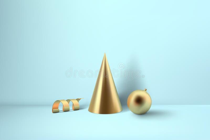 抽象光滑的圣诞节decprations 金黄卷金属spir 库存例证