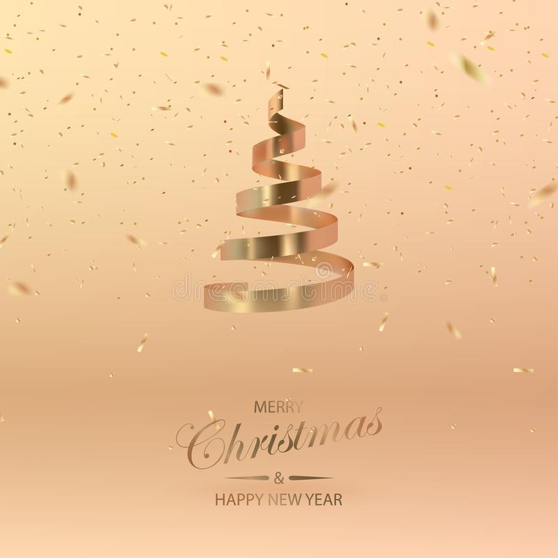 抽象光滑的螺旋圣诞树和五彩纸屑 金黄卷 皇族释放例证