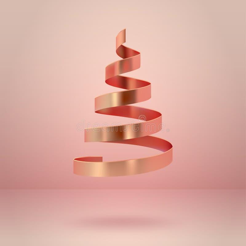 抽象光滑的螺旋圣诞树 金黄卷金属ribb 皇族释放例证