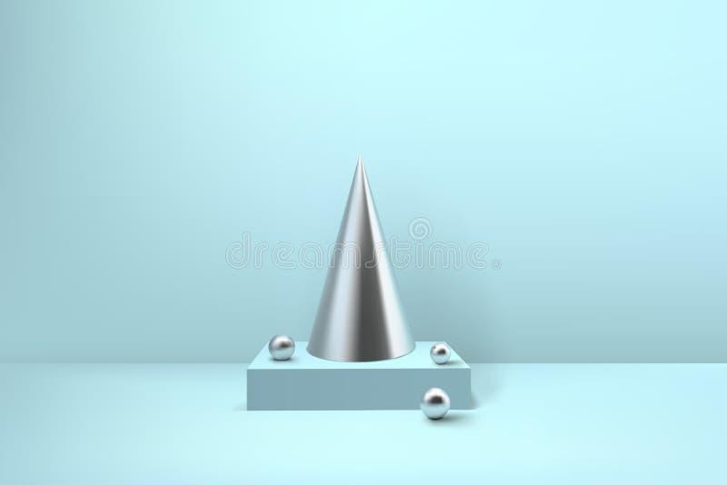 抽象光滑的螺旋圣诞树 银色卷金属pyra 向量例证