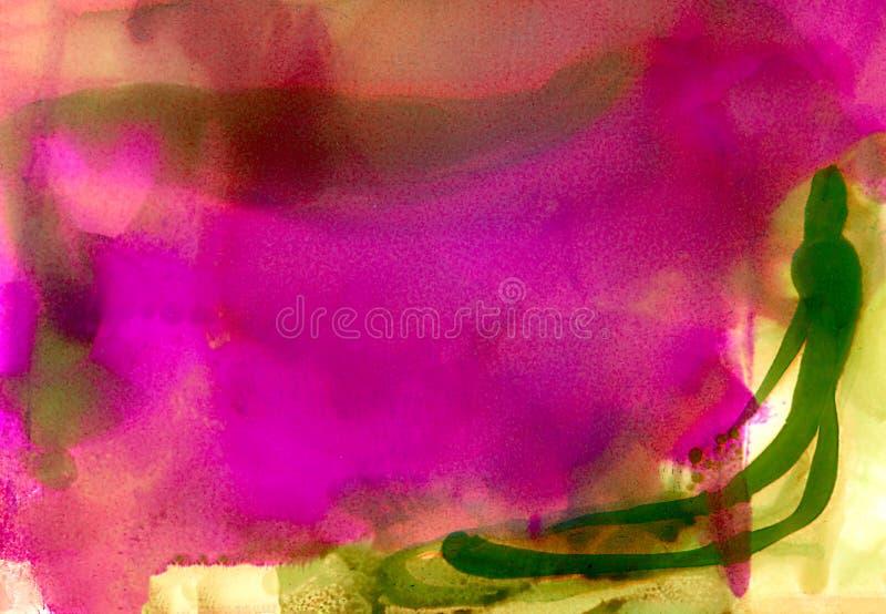 抽象光滑的被弄脏的被绘的桃红色绿色 向量例证