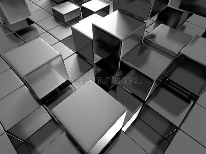 抽象光滑的黑暗的金属块背景 皇族释放例证