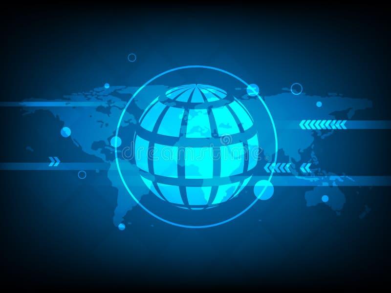 抽象全球性世界地图圈子数字技术背景,未来派结构元素概念背景 库存例证