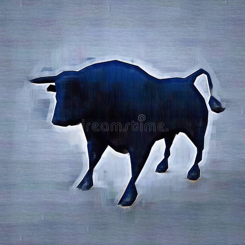 抽象公牛 图画样式 数字式五颜六色的例证 库存例证