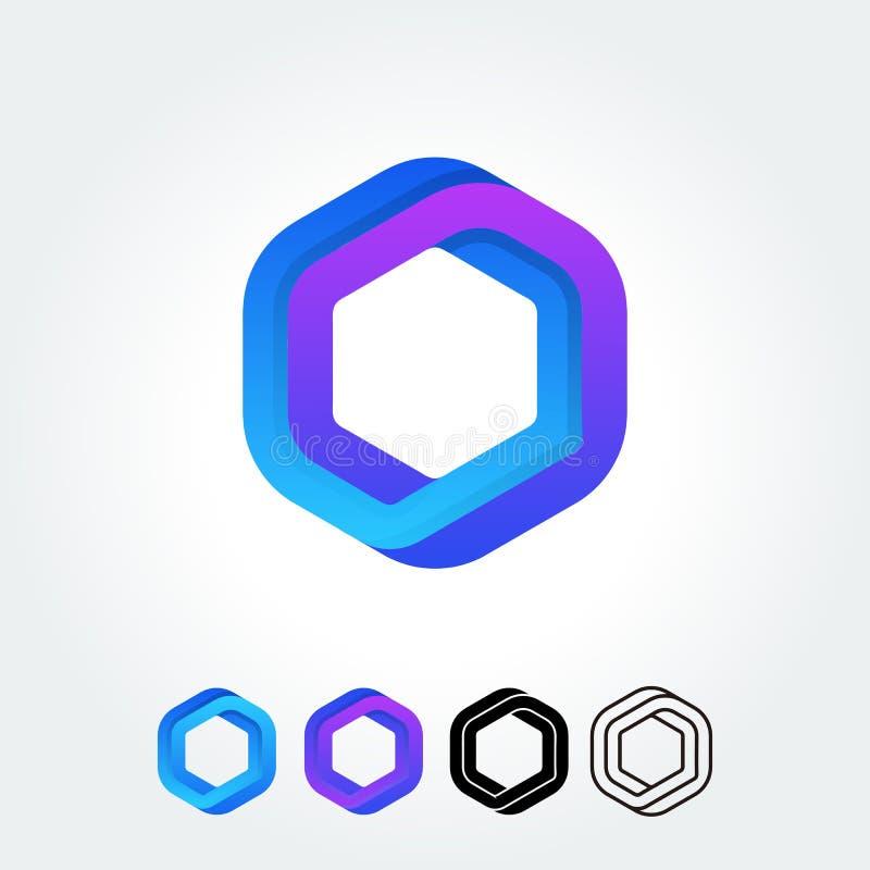 抽象六角形形状传染媒介商标模板 皇族释放例证