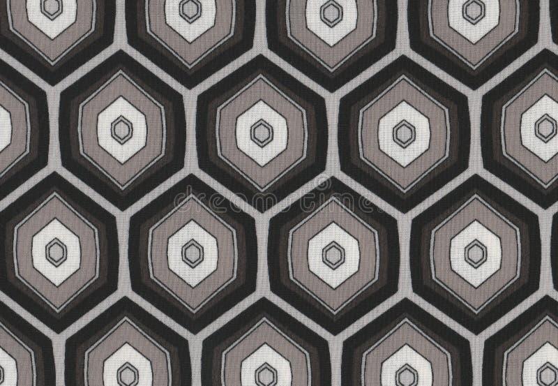 抽象六角形纹理无缝的黑白背景 皇族释放例证