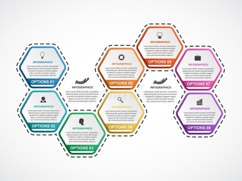 抽象六角形infographics模板 背景设计要素空白四的雪花 企业介绍或信息横幅的Infographics 向量例证
