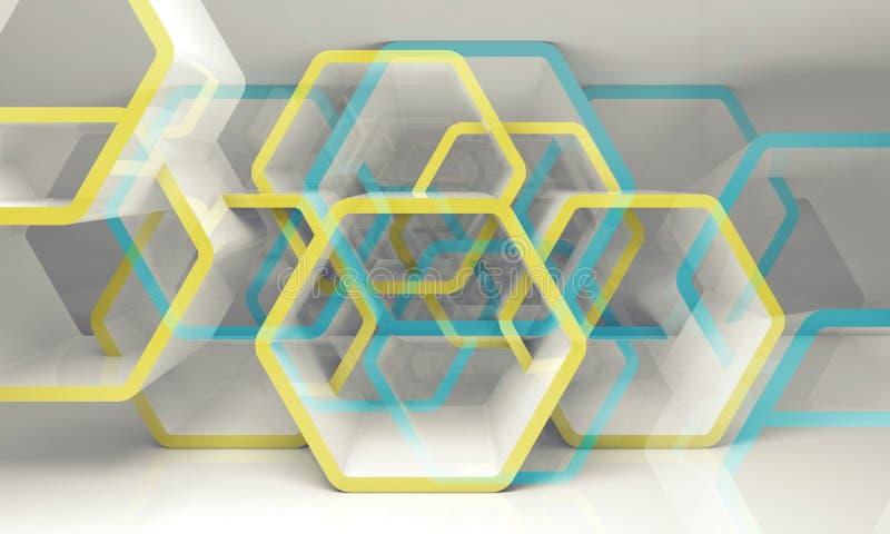 抽象六角结构,蓝色和黄色3d 库存例证