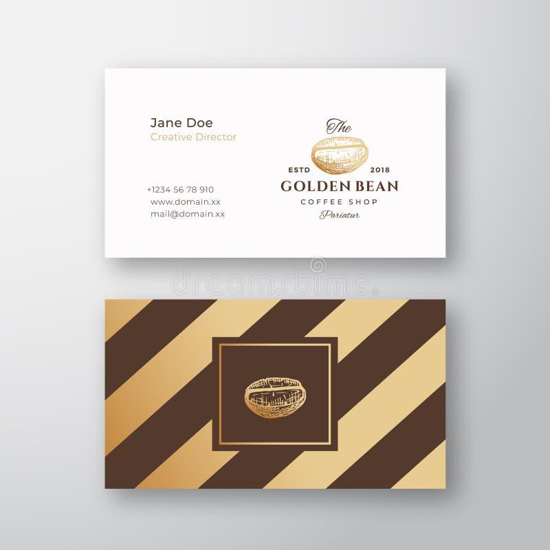 抽象典雅的传染媒介咖啡商标和名片模板 手拉的金黄咖啡豆 优质固定式 向量例证