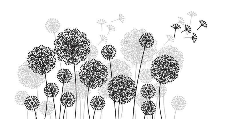 抽象典雅的装饰蒲公英花纹花样 无缝的样式的夏天花卉主题倒栽跳水的,卡片,邀请, 库存例证