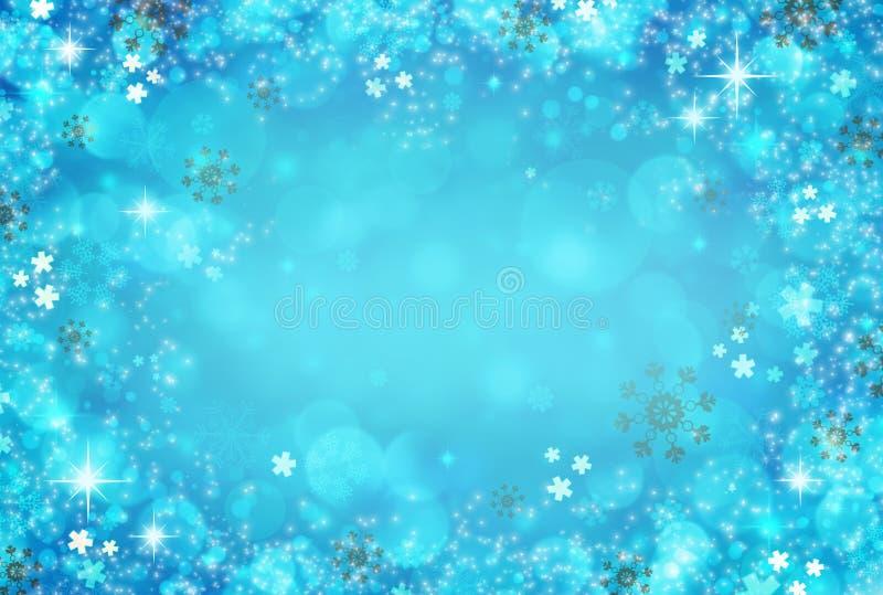 抽象冬天背景摘要bokeh 雪,与雪花的被弄脏的光 抽象空白背景圣诞节黑暗的装饰设计模式红色的星形 皇族释放例证