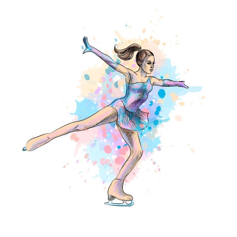 抽象冬季体育从水彩飞溅的花样滑冰女孩  滑雪雪体育运动跟踪冬天 向量例证