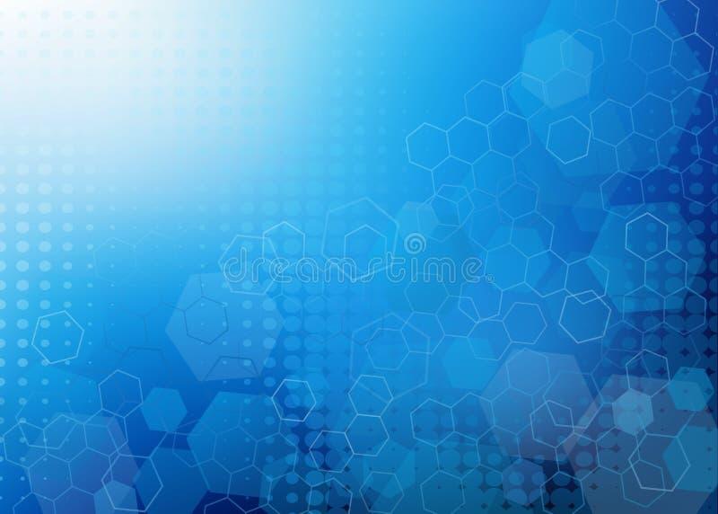 抽象凉快的蓝色分子设计背景 库存例证