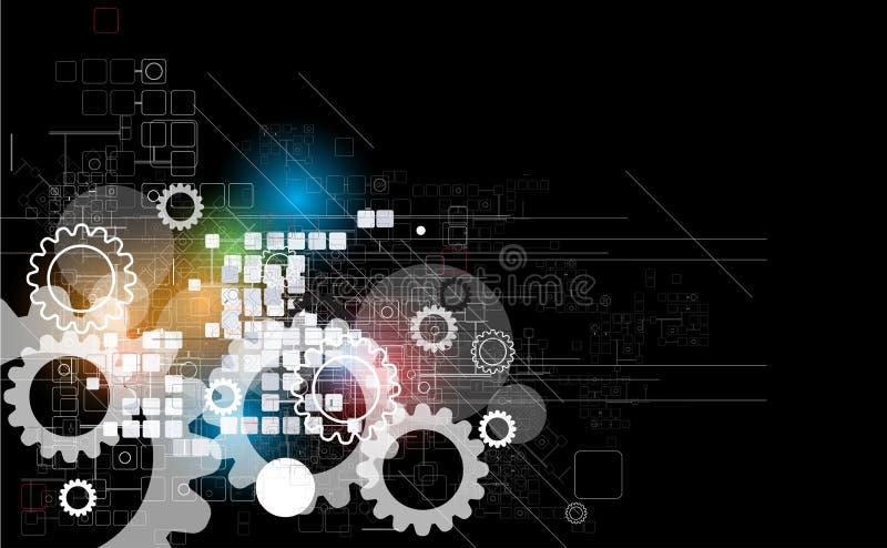 抽象减速火箭的数字计算机技术企业背景 向量例证