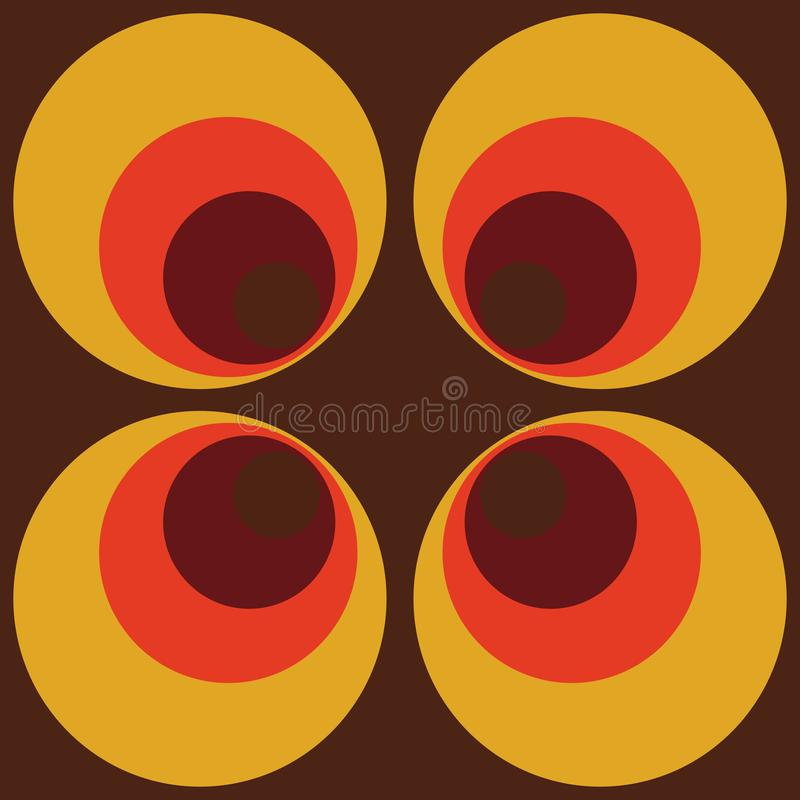 抽象减速火箭的无缝的重复样式的Backround棕色橙色圆的葡萄酒无缝的样式 皇族释放例证