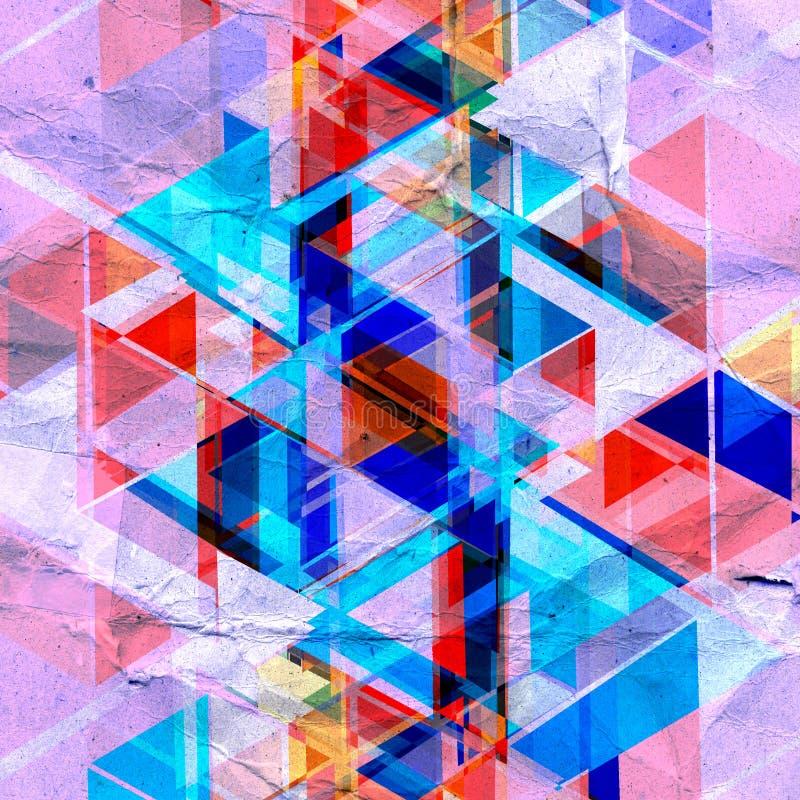 抽象减速火箭的水彩背景三角 向量例证