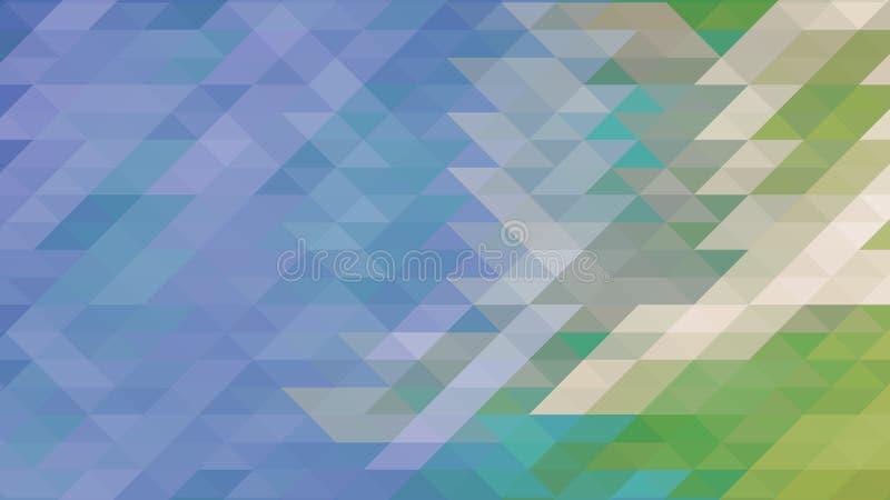 抽象几何三角例证,蓝色和绿色低多背景 免版税库存图片
