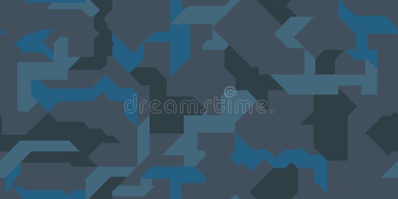 抽象几何与蓝色海洋口气纹理的伪装无缝的样式背景 免版税库存图片