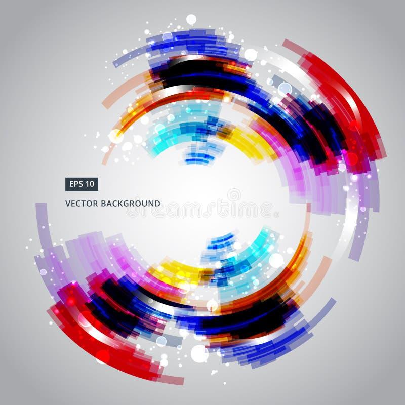 抽象几何五颜六色的圈子排行传染媒介背景Techn 库存例证