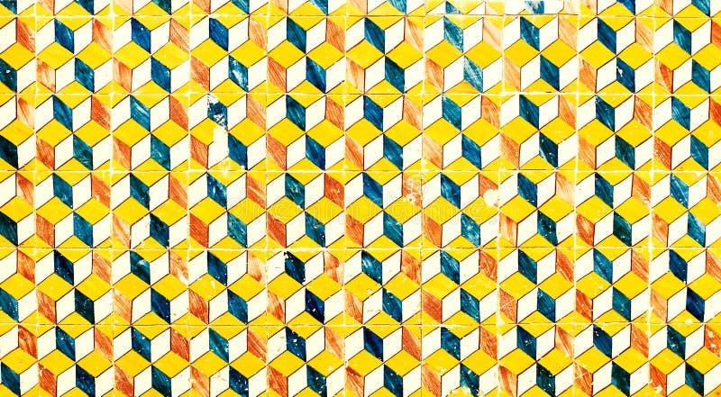 抽象几何五颜六色的摩洛哥,葡萄牙瓦片, Azulejo, 免版税库存照片