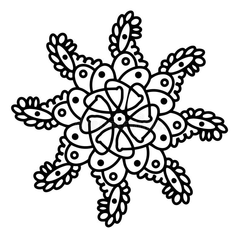 抽象几何元素坛场装饰 r 贷方白色被隔绝的背景 一棵树的小树枝与 库存例证