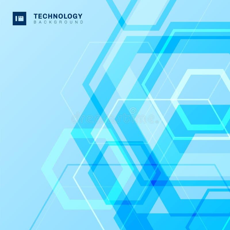 抽象几何六角形塑造与空间的技术数字未来派概念蓝色背景您的文本的 库存例证