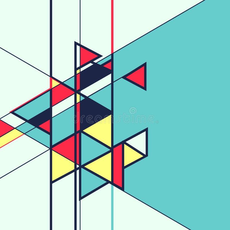 抽象几何减速火箭的五颜六色的背景 库存例证