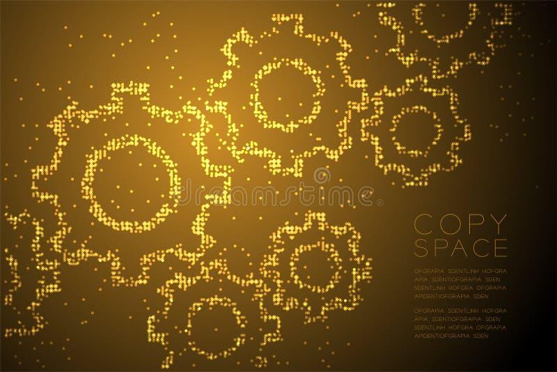 抽象几何圈子光点图形工程学齿轮形状,配合系统概念设计金子彩色插图图片