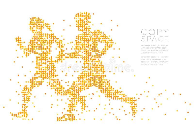 抽象几何圈子光点图形男人和妇女结合赛跑者一起塑造,炫耀构思设计 皇族释放例证