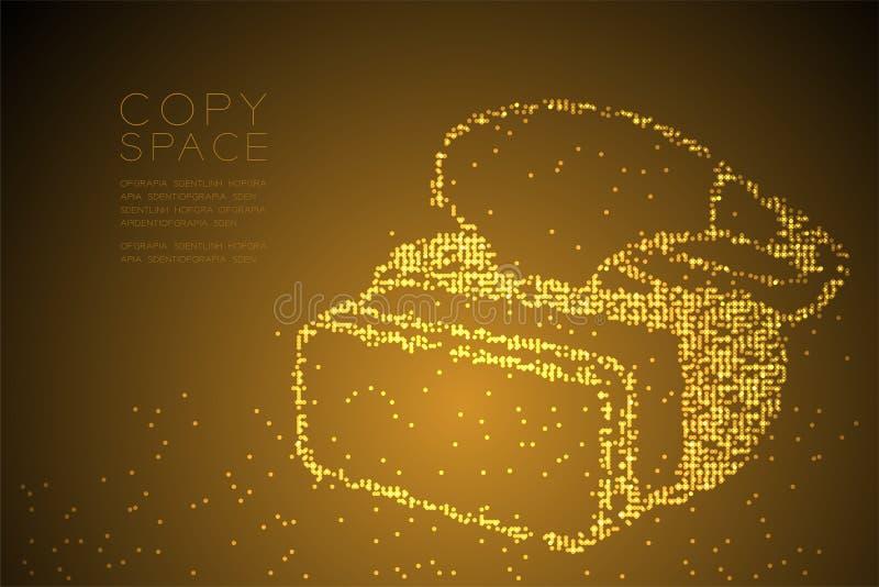 抽象几何圈子小点映象点样式VR耳机虚拟现实形状设计金子彩色插图 库存例证